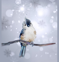cute bird on a branch watercolor winter vector image