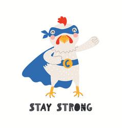 Cute funny chicken superhero in mask cape quote vector