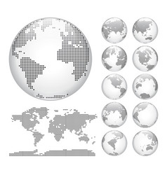 Digital earth globes set and world map vector