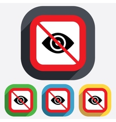 Do not look Eye sign icon Publish content vector image