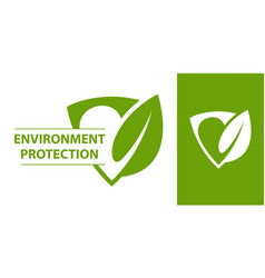 Eco logo shield with leaf vector