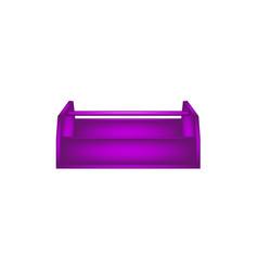 Empty wooden toolbox in purple design vector