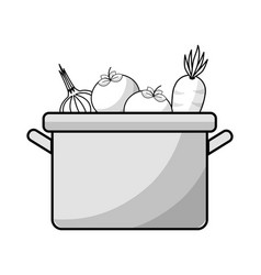 Figure tomatoes carrot and garlic inside of pot vector