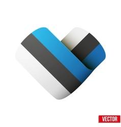 Flag icon in the form of heart i love estonia vector