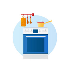 Flat design icon kitchen with household vector