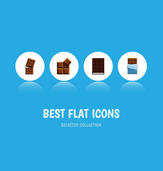 Flat icon cacao set of bitter wrapper dessert vector