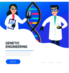 genetic engineering concept scientists working in vector image