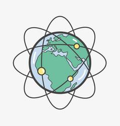 Geostationary orbits around earth planet vector