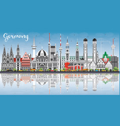 Germany city skyline with gray buildings blue sky vector