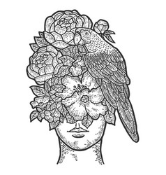Girl instead a face flowers and a parrot vector