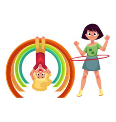 girls playing with hula hoop and hanging on monkey vector image