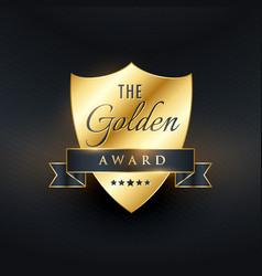 Golden award badge design vector