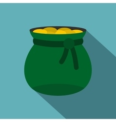 Green bag full of gold coins icon flat style vector