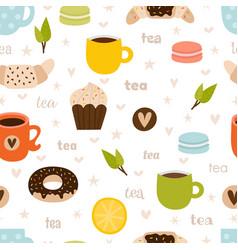 hand drawn tea seamless pattern set tea party vector image