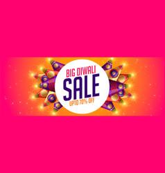Happy diwali sale banner with crackers design vector