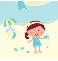 happy smiling girl on beach vector image
