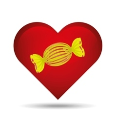 heart cartoon candy yellow sweet icon design vector image