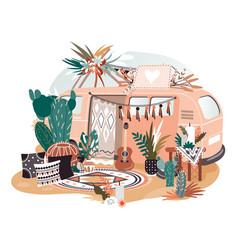Hippie van in boho style retro decoration vector