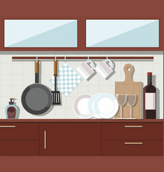 home interior of kitchen vector image