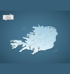 Isometric 3d iceland map concept vector