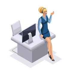 isometric business woman with gadgets vector image