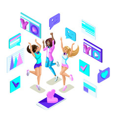 isometrics teenagers jumping generation z tough vector image