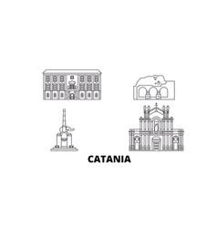 Italy catania line travel skyline set italy vector