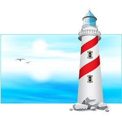 Lighthouse tower landscape panorama vector image