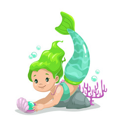 Little cute cartoon young mermaid princess vector