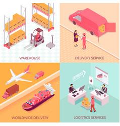 logistics services isometric design concept vector image
