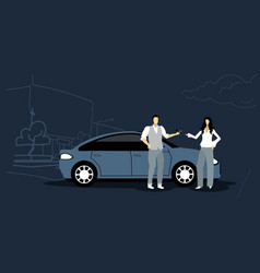 man giving keys to woman car sharing vector image