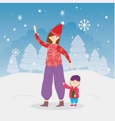 merry christmas mom and son trees snow snowflakes vector image