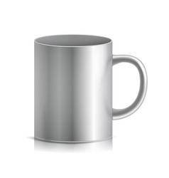 Metal cup mug 3d realistic metallic vector