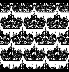 monochrome seamless pattern with tiara royal vector image