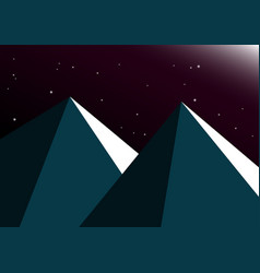 Moon night mountain background vector