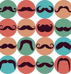 Moustaches set Design elements Seamless pattern vector