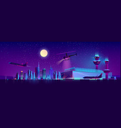 night airport with plane and helicopter vector image