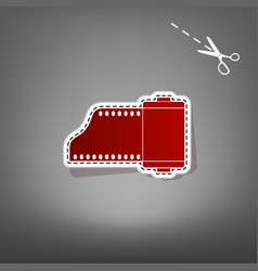 Old photo camera casset sign red icon vector