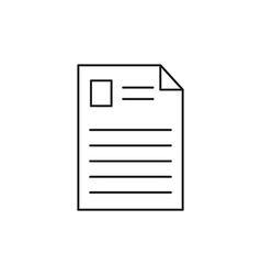 Outline document icon isolated on white vector image
