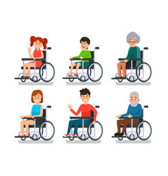 persons in wheelchair hospital patient with vector image