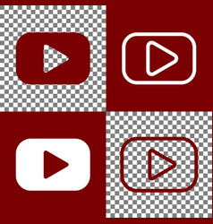 Play button sign bordo and white icons vector
