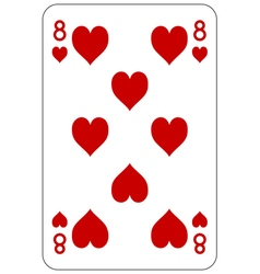 Poker playing card 8 heart vector