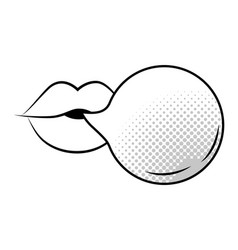 Pop art sexy mouth cartoon in black and white vector