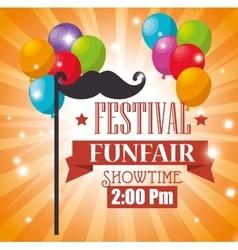 Poster festival funfair balloons flying mustache vector