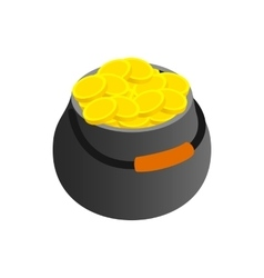 Pot full of gold coins isometric 3d icon vector
