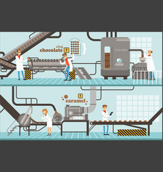 Process of caramel and chocolate production set of vector