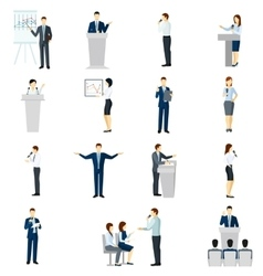 Public speaking people flat icons set vector