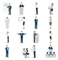 Public speaking people flat icons set vector image