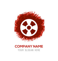 Radiation fan icon - red watercolor circle splash vector