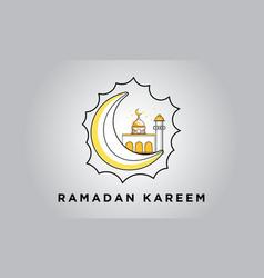 Ramadan kareem mosque and mon in flat vector